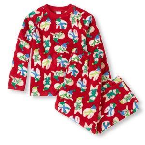 Boys Red Polar Bears Fleece Xmas Holiday Pajamas